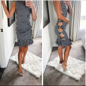 NWT FAME AND PARTNERS Gingham Plaid Cutout Dress